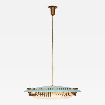 Angelo Lelli Rare Suspension Light Fixture in Blue Perspex by Angelo Lelli Italy c 1950