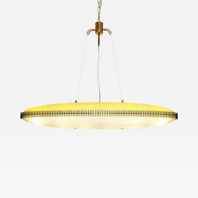 Angelo Lelli Rare Yellow White Chandelier by Angelo Lelli Italy c 1950