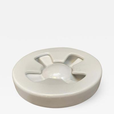 Angelo Mangiarotti 1970s Iconic Mangiarotti White Ceramic Ashtray Manufactured by Brambilla