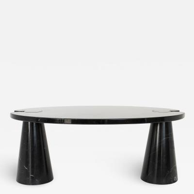 Angelo Mangiarotti ANGELO MANGIAROTTI BLACK MARQUINA MARBLE EROS ITALIAN OVAL COFFEE TABLE