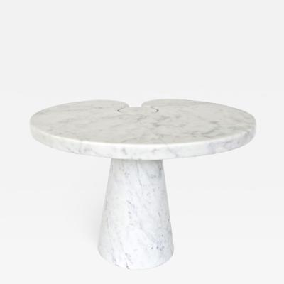 Angelo Mangiarotti ANGELO MANGIAROTTI EROS SERIES FOR SKIPPER WHITE CARRARA MARBLE LOW SIDE TABLE