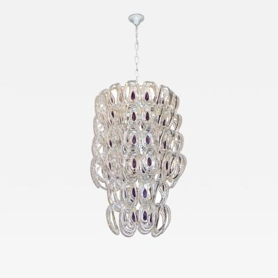 Angelo Mangiarotti Angelo Mangiarotti 1970 Vistosi Crystal Murano Glass Chandelier with Purple Core
