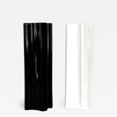 Angelo Mangiarotti Angelo Mangiarotti Black and White Ceramic Vases by Fratelli Brambilla Model M6
