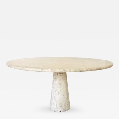 Angelo Mangiarotti Italian Vintage Round Travertine Dining Table in the style of Angelo Mangiarotti