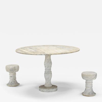 Angelo Mangiarotti Mangiarotti Style Carrara Marble Garden Dining Set 1950s