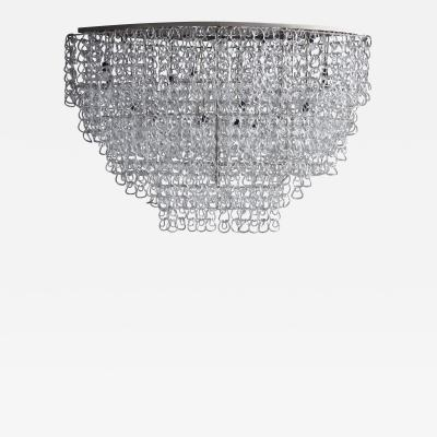 Angelo Mangiarotti Monumental Glass Chandelier by Angelo Mangiarotti for Vistosi