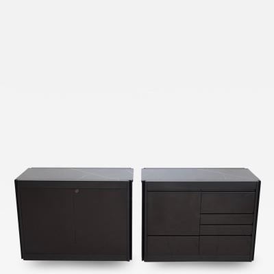 Angelo Mangiarotti Pair of Black Credenzas with Marble Top by Angelo Mangiarotti