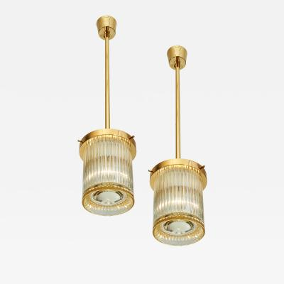 Angelo Mangiarotti Pair of Gold Toned Ribbed Glass lanterns