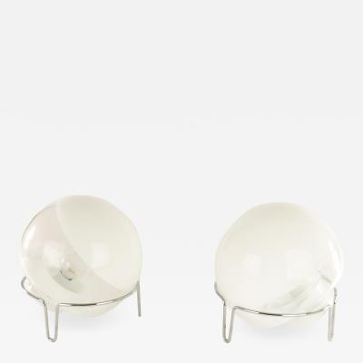 Angelo Mangiarotti Pair of glass table lamps by Angelo Mangiarotti for Skipper