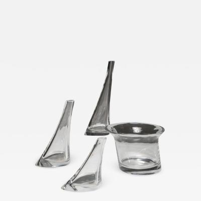 Angelo Mangiarotti Set of Four Crystal Vases by Angelo Mangiarotti for Cristlleria Colle