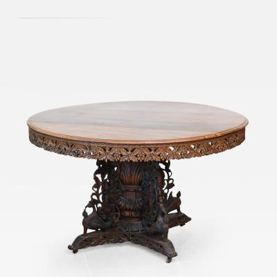 Anglo Indian Teak and Padouk Center Dining Table