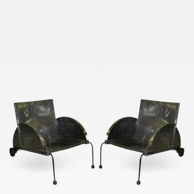 Anna Castelli Pair of Italian Memphis Design Lounge Garden Chairs by Castelli Ferrieri