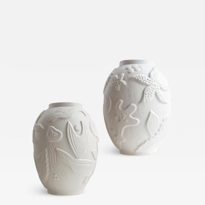 Anna Lisa Thomson Pair of Monumental Vases with Relief of Marine Live By Anna Lisa Thomson