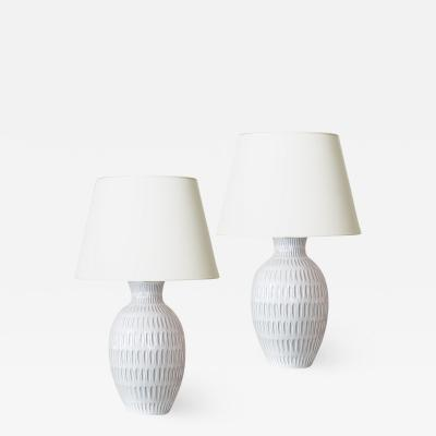Anna Lisa Thomson Pair of tall Lamps with Gouged Pattern in White by Anna Lisa Thomson