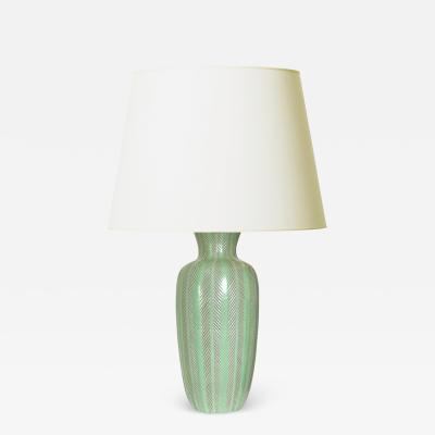 Anna Lisa Thomson Tall Lamp with Carved Foliate Design by Anna Lisa Thomson
