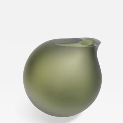 Anna Torfs Anna Torfs Vaza Large Glass Vase Sculpture in Moss Green