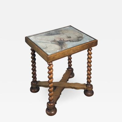 Annibale Carracci Small Table with Top featuring a 17th Century Italian Fresco Fragment of Diana