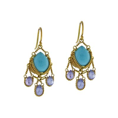 Anthony Nak Anthony Nak Turquoise and Iolite Drop Earrings