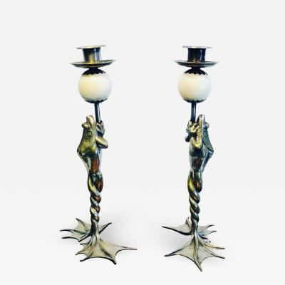 Anthony Redmile Rare Pair of Anthony Redmile Silver Plated Frog Candlesticks