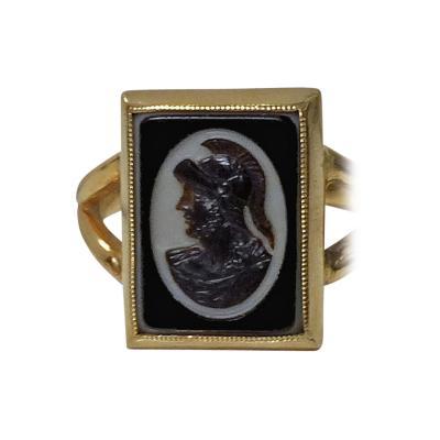 Antique 14K Hardstone Cameo Ring C 1900