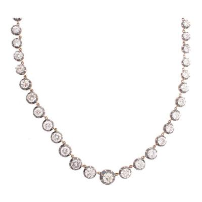 Antique 15 09 Carat Total Weight Diamond Necklace