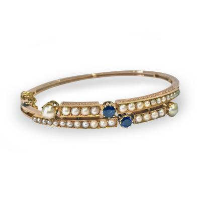 Antique 15K Rose Gold Sapphire and Pearl Bangle English C 1890