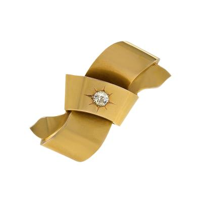 Antique 15kt gold Bow Brooch with Diamond