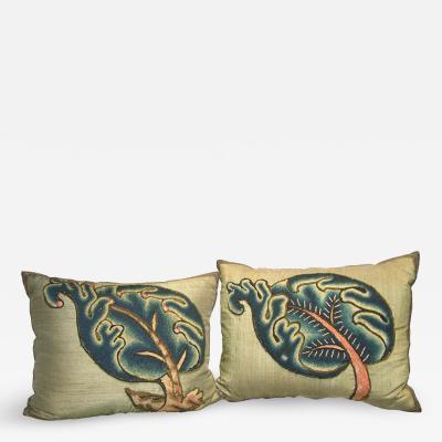 Antique 17th Century Crewel Work English Pillow