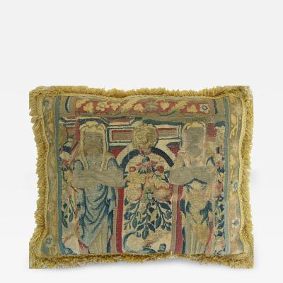 Antique 17th Century Flemish Tapestry Pillow