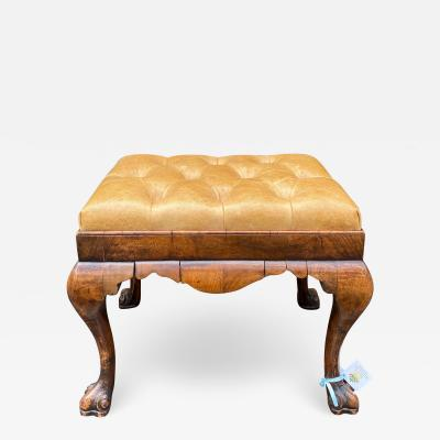 Antique 18 C Queen Anne Burl Wood Leather Tufted Bench