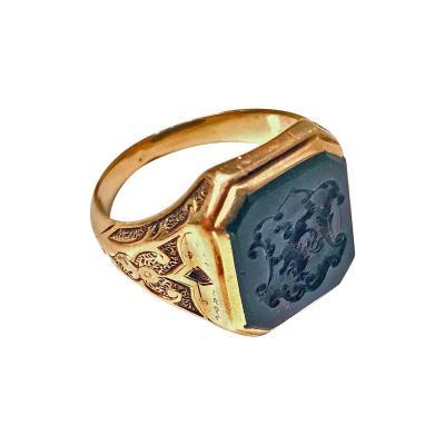 Antique 18 Karat Bloodstone Signet Ring circa 1880