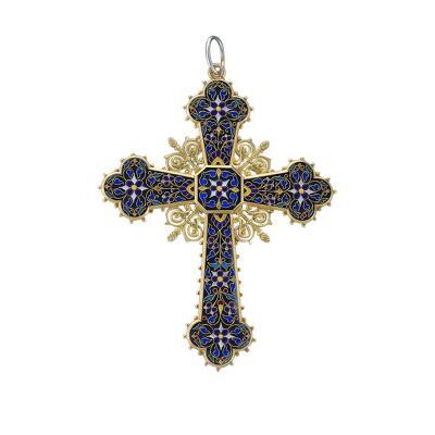 Antique 18 Karat Gold Enamel and Lapis Lazuli Cross