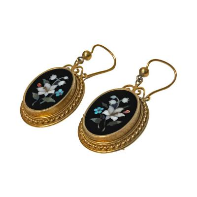 Antique 18K Pietra Dura Earrings C 1875