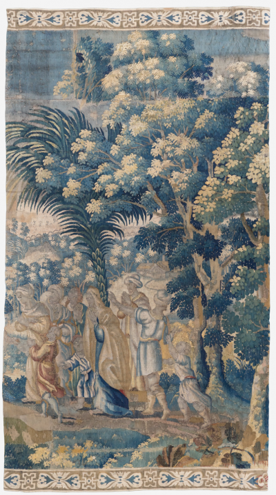 Antique 18th Century French Aubusson Landscape Tapestry with Palm Trees