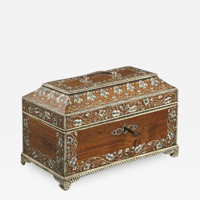 Antique 18th Century Indian Vizag Padouk Tea Caddy Chest With Ivory Inlays