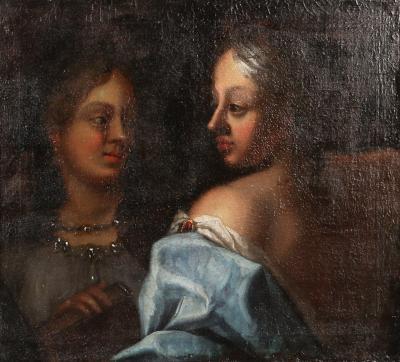 Antique 18th Century Italian Oil on Canvas of Two Women circa 1760