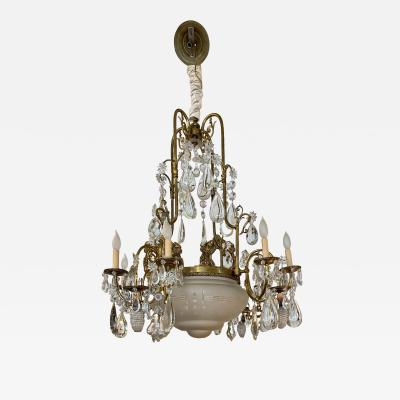 Antique 19th C Belle poque Bronze Crystal Chandelier