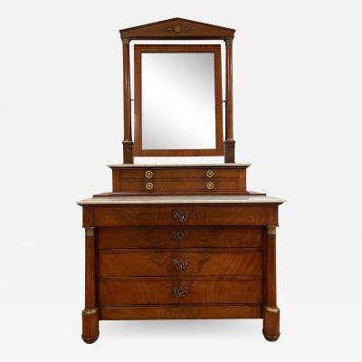 Antique 19th C Empire Mirrored Marble Top Dresser Commode