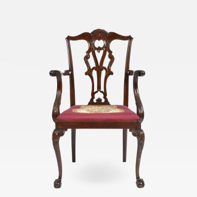 Antique 19th Century English Chippendale Mahogany Armchair
