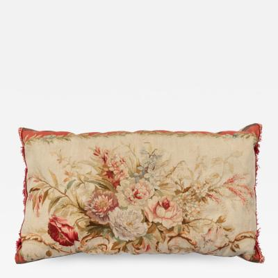 Antique 19th Century French Aubusson Tapestry Lumbar Pillow with Flowers