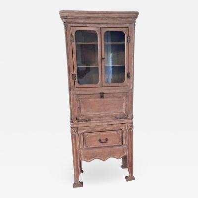 Antique 19th Victorian Curio Cabinet Secretary Desk