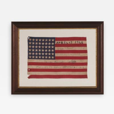 Antique American Flag w Hand Written Inscriptions Mourning the Death of FDR