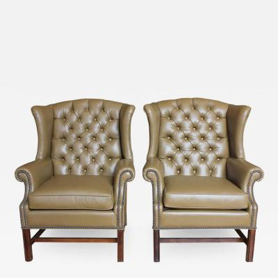 Antique American Library Tufted Leather Wing Chair