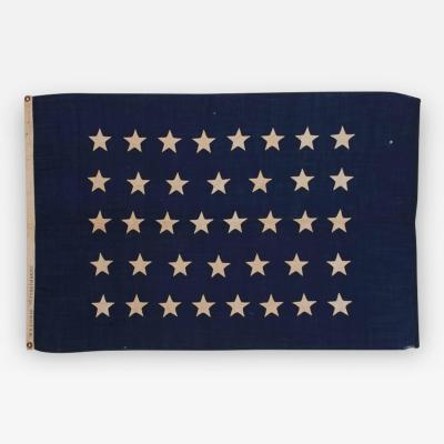 Antique American U S Navy Jack with 38 Hand Sewn Stars and a Rare Makers Mark