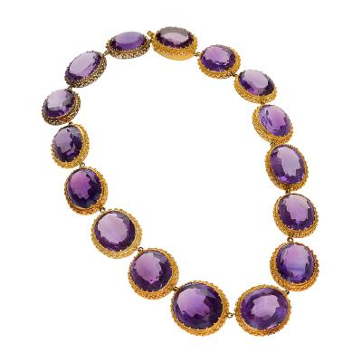 Antique Amethyst and Gold Rivi re Necklace