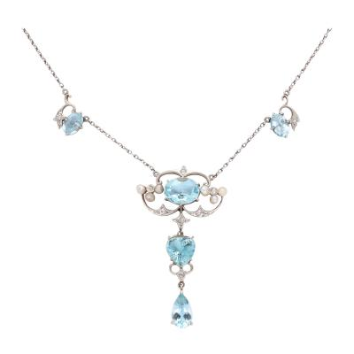 Antique Aquamarine and Diamond Necklace