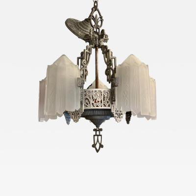 Antique Art Deco 5 Light Chandelier