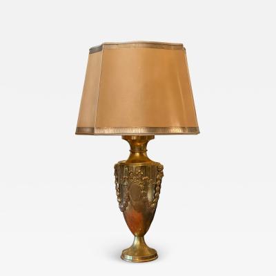 Antique Art Deco Brass Urn Form Lamp W Egyptian Motif