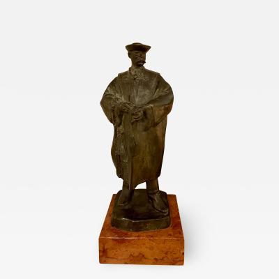 Antique Art Deco Hungarian Bronze Sculpture the Scholar by Laslo Janos Beszedes