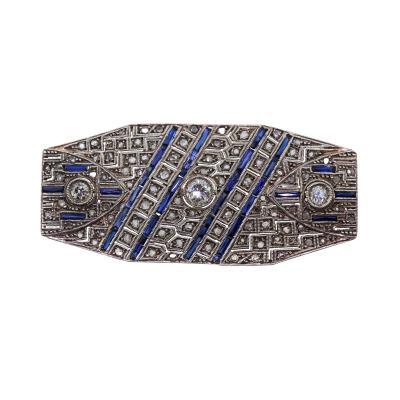 Antique Art Deco White Gold Diamond Sapphire Brooch